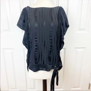 BCBGMAXAZRIA S Beaded Fringe Blouse Top